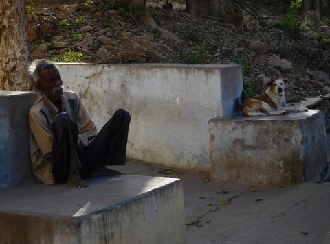 昼下がりの老人と犬