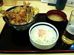 100718海老穴子天丼&キャベツサラダ&グラスビール@てんや