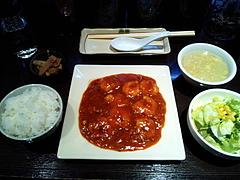 100220海老のチリソース煮定食@RonFan