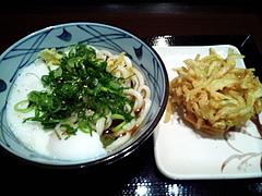 100218とろ玉ぶっかけうどん&野菜かきあげ@丸亀製麺