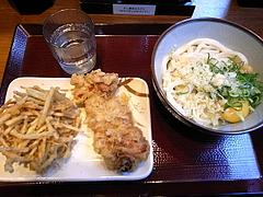 091224釜玉うどん&鶏天、ごぼうかき揚げ@釜楽製麺所