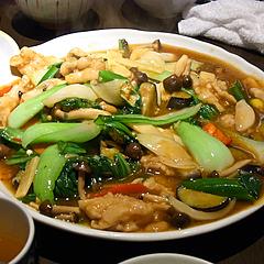 110406豚バラ肉と季節野菜の辣椒油炒め@RonFan