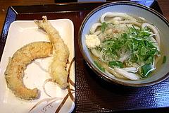 100111かけうどんwith海老天&南瓜天@釜楽製麺所