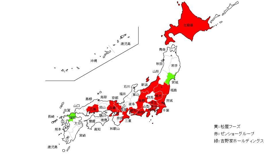 各都道府県ごとの大手3社の ... : 地方別日本地図 : 日本