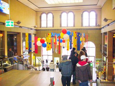 カーニヴァル飾りのマインツ駅