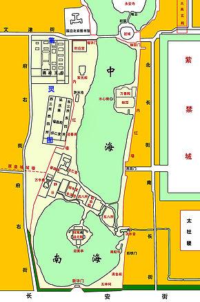 290px-Beijing_Zhongnanhai_map