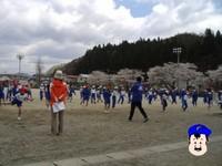 遠野小学校、運動会の練習中