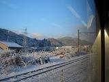 山陽本線 雪景色(JR本郷-河内駅間の車窓より)