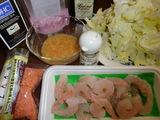 赤レンズ豆ドレッシングのサラダの材料