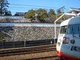 福山城の桜を後に サンライナー 2008.4.3