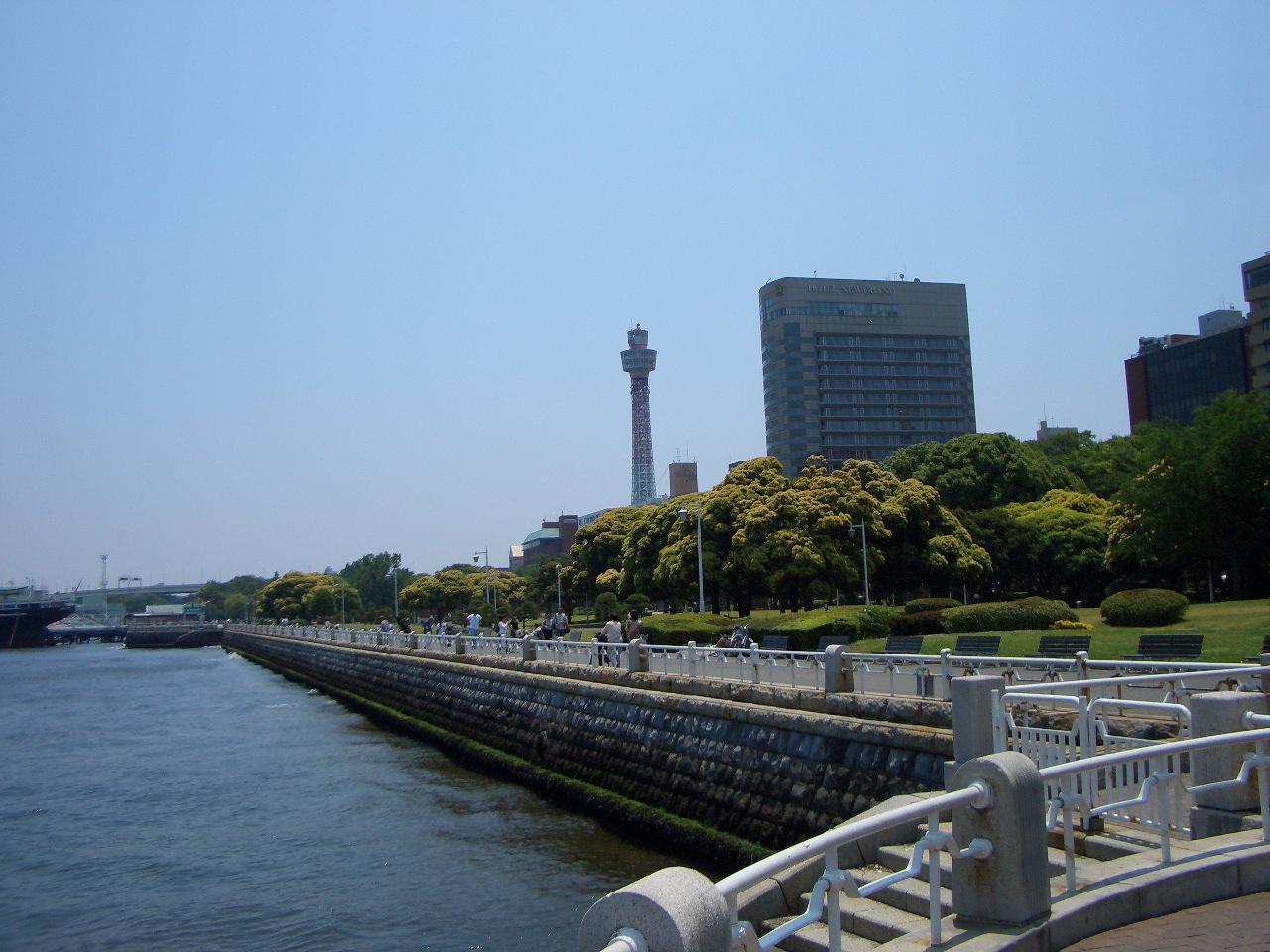 山下公園と横浜マリンタワー 画像は潮風が心地良い横浜 山下公園。 1961年に建設された南東方向