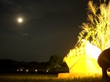 岡山後楽園の名月観賞会。 月見団子と唯心山 2008.9.14