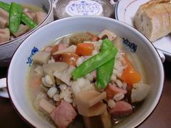 大麦と根菜スープの完成