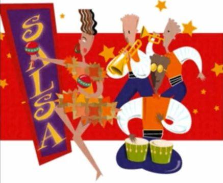 salsa dancer and band