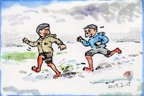17雪の中ではだしの子ども201_1