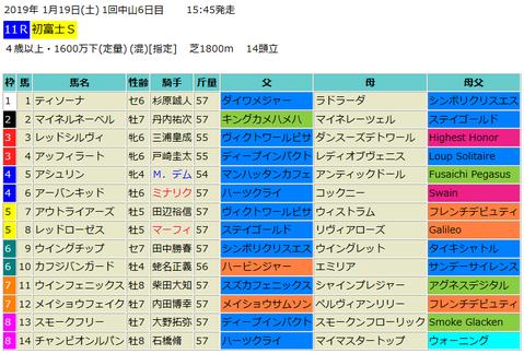 初富士ステークス2019予想