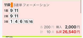 2018年6月23日東京11R的中馬券