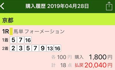 2019年4月28日京都1R読者様的中