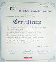 I passed STEP English Test Pre-1stGrade