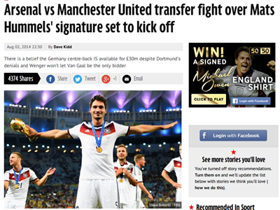 Arsenal vs Manchester United transfer fight over Mats Hummels  signature set to kick off   Mirror Online