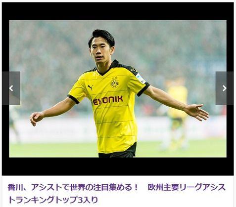 香川真司、欧州主要リーグアシストトップ5にランクイン