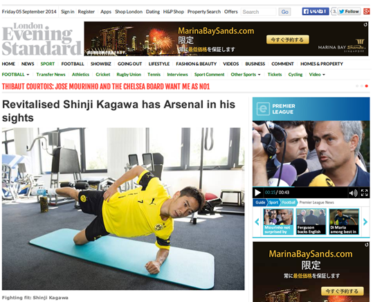 Revitalised Shinji Kagawa has Arsenal in his sights   Football   Sport   London Evening Standard