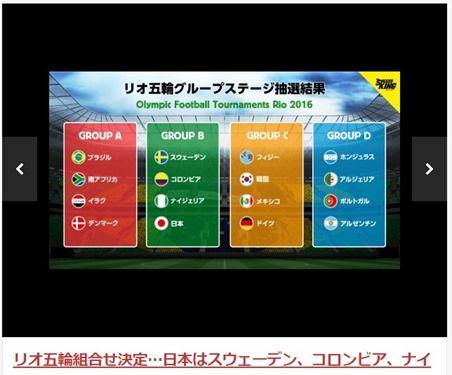 サッカーリオ五輪 日本は死のグループか?スウェーデン、コロンビア、ナイジェリアと同組に