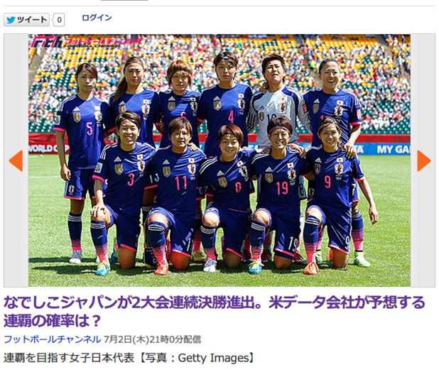 なでしこジャパンがW杯連覇する確率は・・・?米データ会社が予想