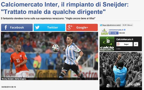 Calciomercato Inter  il rimpianto di Sneijder   Trattato male