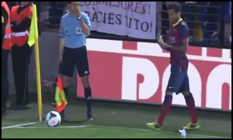 Dani Alves eat a banana thrown from the stands   Villareal vs Barcelona   27 04 2014   HD   YouTube