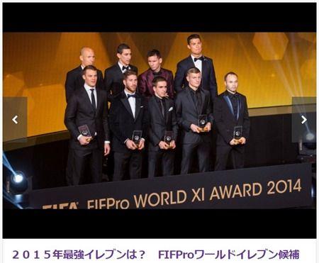 2015年のサッカーベストイレブンは!?FIEProワールドイレブン55人の候補を発表