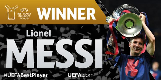 メッシ、UEFA最優秀選手賞に4年ぶり、史上初の2度目の受賞!ベストゴール・セーブも【動画あり】