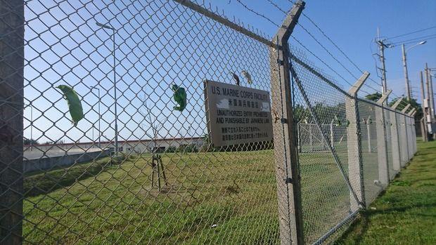 【意味不明】琉球新報「米軍基地フェンスに抗議の意思を示した葉っぱのアートがありました」
