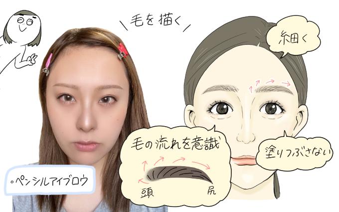 眉なし眉毛メイク9