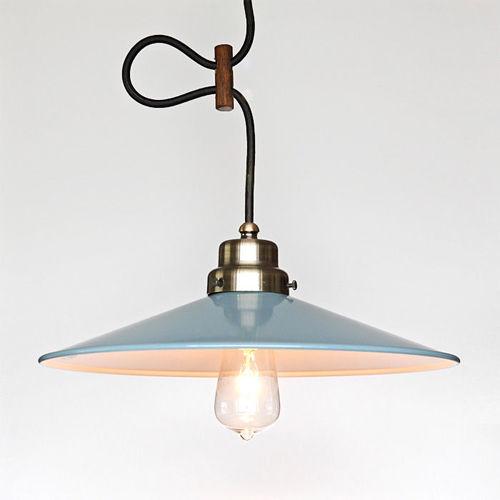 後藤照明 オパールブルーのP1L型セードペンダントランプ