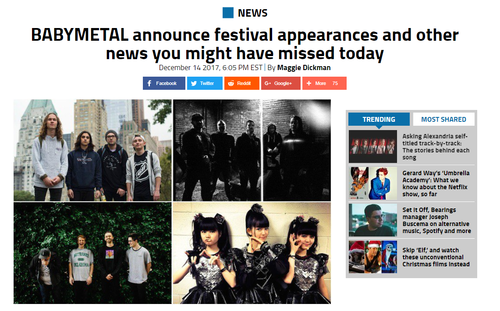 米Alternative PressがBABYMETALのドイツフェス参加をメインで報道