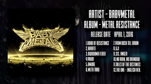 「Alternative Idol」Best Releases of 2016のTop10に『BABYMETAL』