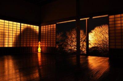 東塗縁広間からライトアップされた梅と提灯