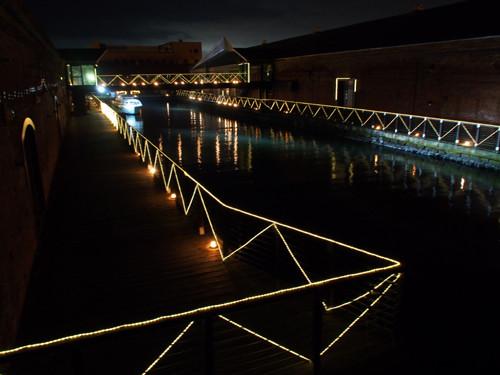 2017120608七財橋から夜の金森倉庫