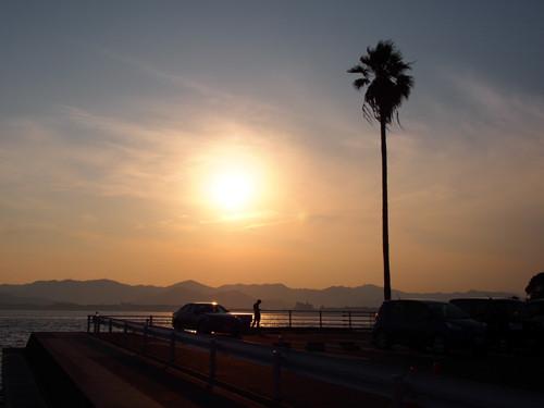 2018090112夕日の浜名湖