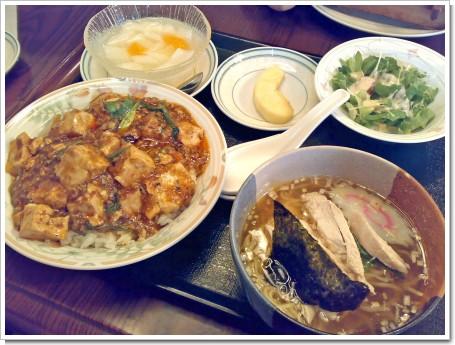 麻婆丼と鶏絲湯麺