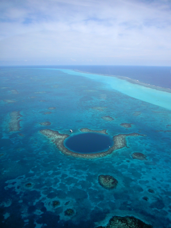Blue hole barrier reef