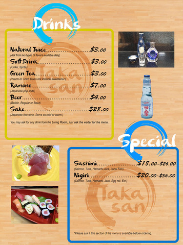 2 TakaSan Menu-Drinks