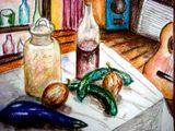 茄子と胡瓜と玉葱の絵