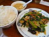 豚肉と青菜のにんにく醤油炒め定食