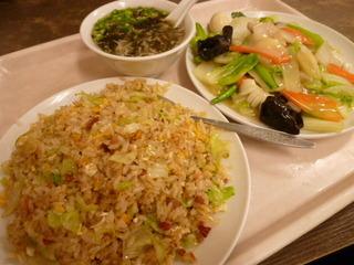 チャーハン+五目野菜炒め