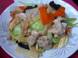 ユバと豚肉とチンゲン菜炒め