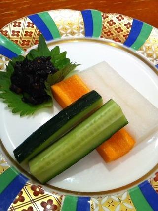 そば味噌と野菜スティック