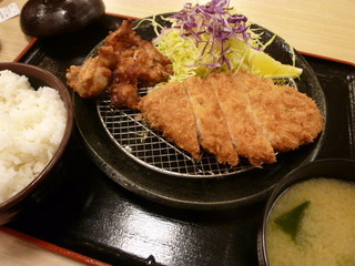 熟成豚ロースかつ&唐揚げ定食