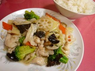 野菜鶏肉塩味炒め